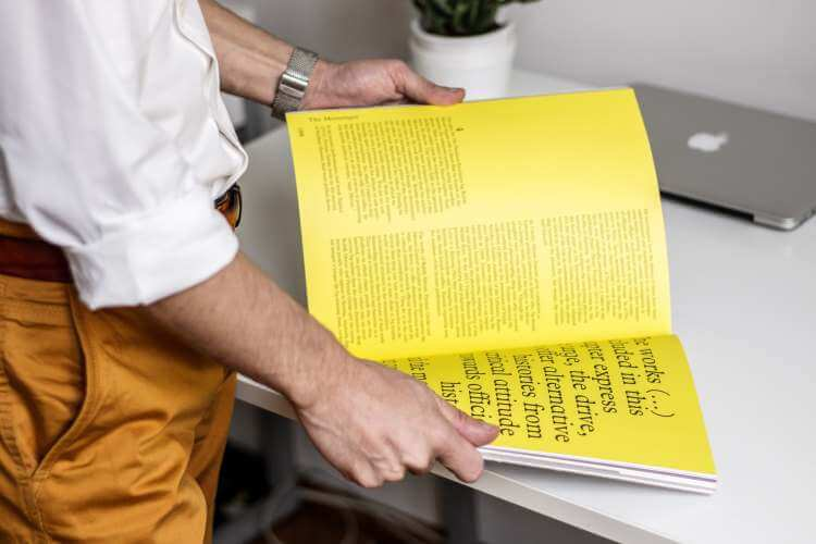 man searches in book
